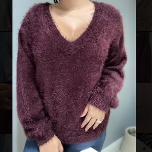 Philosophy fuzzy shaggy sweater